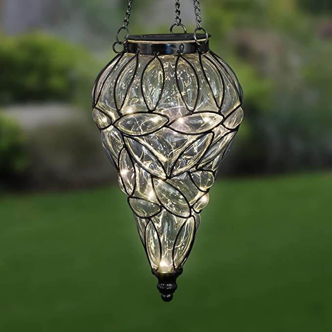 Exhart Teardrop Glass Solar Lantern