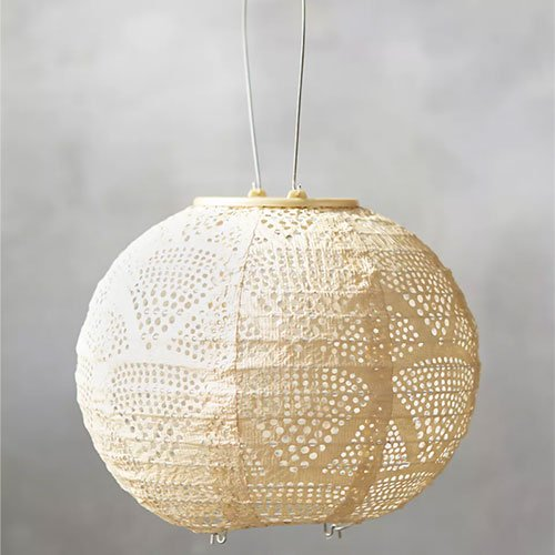 Anthropologie Small Geometric Lace Solar Powered Lantern