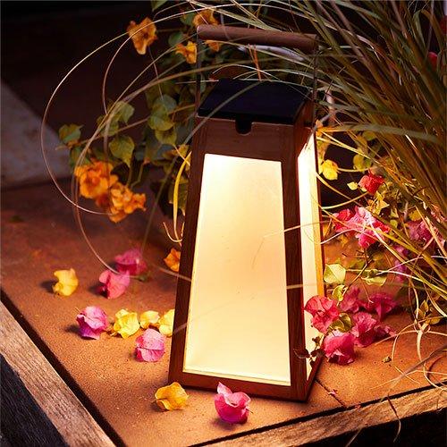 Terrain Teak LED Solar Lantern
