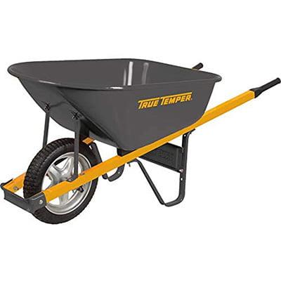 True Temper Never-Flat Tire Steel Wheelbarrow