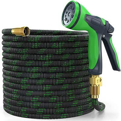 YEMMEN Expandable Water Hose with Multi-Function Nozzle and Solid Brass Fittings