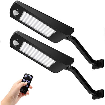 KUNGFU Solar Outdoor Security Lights with Remote Control